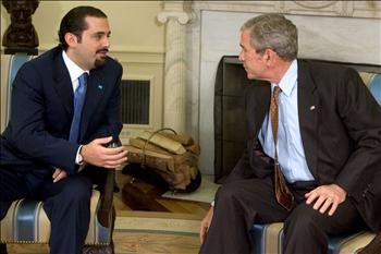 President Bush meeting with MP Hariri in the Oval Office